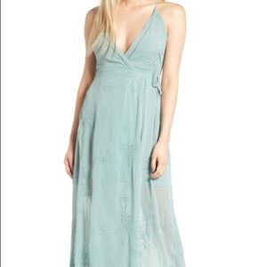 ASTR • Embroidered Wrap Maxi Dress